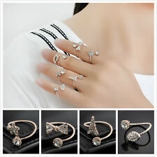 Wholesale 6PCS Lot Charm Gold Plated Adjustable Crystal Above Knuckle Rings Gift
