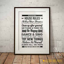 Personalised Family House Rules Sign Print Poster Picture Print Gift Word Art