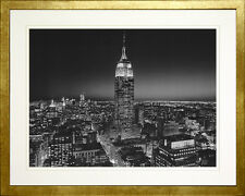 Empire State Building at Night. New York. Photo Print. Wood Gold Frame