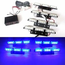 36 LED Blue Car Flashing Emergency Grille Light 4 Bars Recovery Strobe UK Stock