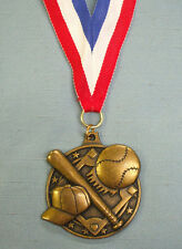 HIGH RELIEF  GOLD BASEBALL medal with patriotic neck drape