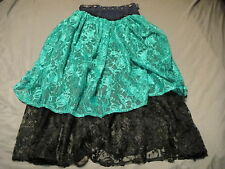 GYPSY STYLE Lace Long See Through Skirt Faux Diamond & Studs Embelished Costume