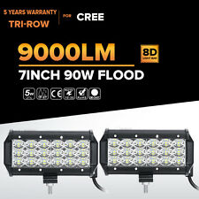 "2X Tri Row 90W 7""inch CREE LED Work Light Bar FLOOD Beam Offroad Driving 4WD ATV"