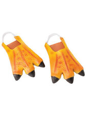 Adult Orange Chicken Duck Feet Slippers Animals Rubber Fancy Dress Accessory New