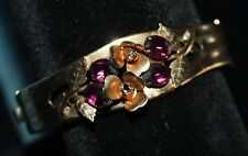 VINTAGE ROLLED GOLD  BANGLE BRACELET  AMETHYST GLASS STONE