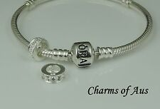 Genuine PANDORA bracelet and S/Silver 925 Clear Stone spacer charm. Christmas!!!