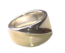Ladies Rustic Inspired Silver / Yellow Tint Unisex Minimalist Ring (Zx80)