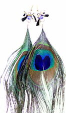 Boho style bow and peacock eye feather dangle earrings