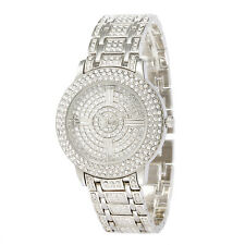 Alias Kim Full Bling Silver Crystal Face Womens Lady Quatz Bracelet Wrist Watch