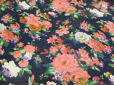 "Navy ""Vintage Flowers"" Summer Floral Printed 100% Cotton LAWN/VOILE Fabric"