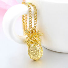Gold Plated Tiny Pineapple Fruit Charm Long Chain Necklace Summer Jewelry  E7