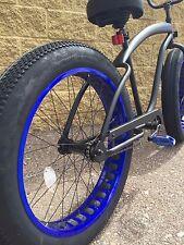 SIKK Fat Tire XL Cruiser Bike ��SINGLE SPEED-CUTOUT WHEELS-FLAT BLACK W BLUE