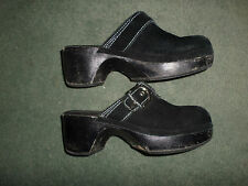 Women's Black & White ROXY Suede Slip On Buckle Strap Clogs Shoes, Size 7, GUC!