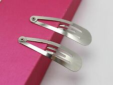 50 Silver Snap Hair Clips Baby Bows Craft Bows 45mm
