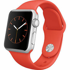 NEW Apple Watch Sport 38mm MLCF2LL/A Silver Aluminum Case Orange Band