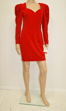NWT NOS Vintage 80's FAVIANA Red Wiggle Cocktail Club Dress Size 8