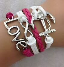 NEW Hot Retro Infinity LOVE Anchor Leather Charm Bracelet plated Silver  B02