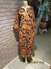 Women's Vintage 60's 70's Barkcloth Cotton Persian Floral Caftan Dress M