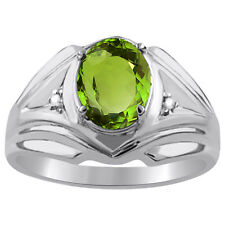 Mens Gold Ring Diamond & Peridot 14K White Gold