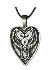 *Heart Dragon Inscribed Pendant Necklace Wiccan Pagan Jewelry DR2