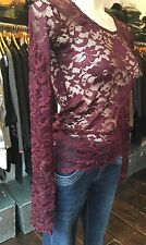 SHERYL MAY HANDMADE BURGUNDY WINE LACE BODY LAYERING LONG SLEEVE TOP S,M,L £89
