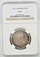 1911 Australia 2 Shillings Graded F-15 By NGC KM# 27