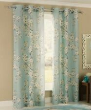 """100% Cotton Floral Blossom Lined Eyelet Curtains 46x72"""" 117x183cm Duck Egg"""