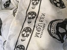 New Authentic Large ALEXANDER MCQUEEN White Chiffon Black Skull-Print Scarf