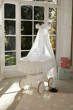 Wicker Crib Moses Basket Lulu Due White (Cot Bed) with Snuggle Pod!MJMARK * *