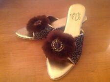 Vintage 1950's Skuddies Slippers Black Gold Lame Furry Mules House Shoes 8.5