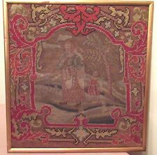 antique 1700's hand made embroidered figural needlepoint tapestry sampler art 2
