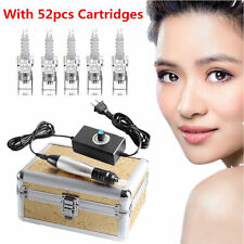 Auto Electric Derma Stamp Pen Micro Needle Anti Aging Skin Facial +52 Cartridges