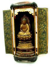ANTIQUE ZUSHI BUDDHIST LACQUERED & GILDED TRAVELING SHRINE c.1840