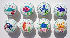 8 OCEAN FISH SEA LIFE COLORFUL DRESSER DRAWER KNOBS MADE AS ORDERED