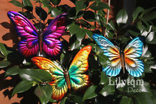 3 of Metal Butterflies Wall Art Colourful Garden Fence Home Hanging Decorations