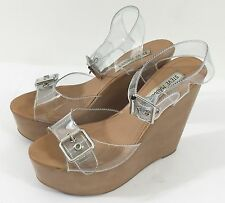 Steve Madden Wizarrd Faux Wood Platform High Heel Wedge Sandals in Clear sz 6.5