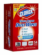 Clorox Triple Action Dust Wipes, 54 Count Box (Pack of 2) , New, Free Shipping