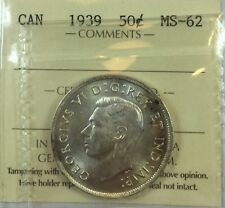 1939 Canadian Fifty Cent Coin ICCS Graded MS-62