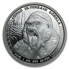 1 oz 999 Silber Silbermünze Republic of Congo Kongo Silberrücken Gorilla 2015