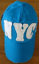 NYC TEAM MAJOR DISTRESSED  BASEBALL CAP : AQUA BLUE.