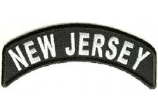 NEW JERSEY STATE ROCKER EMBROIDERED IRON ON BIKER PATCH