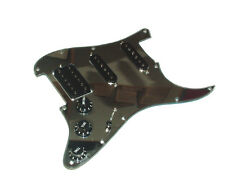 Dragonfire Prewired-Loaded  Fat Strat Pickguard HSS, Chrome Mirror with Black