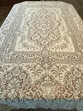 """Excellent Yellowish Ivory Vintage Cotton Lace Looped Tablecloth - 91""""x72"""""""