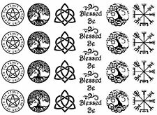 """Blessed Be 5""""X7"""" Card Black Fused Glass Decals 17CC777"""