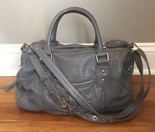 Women's Junior Drake Large Gray Distressed Pleated Leather Satchel Tote Purse