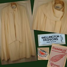 Wellington Fashions Vintage Ivory Wool Cape M-L Lined Scarf Excellent