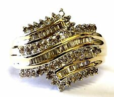 10k yellow gold 1.00ct SI2 brown diamond cluster cocktail ring 6.4g estate 9.5