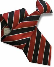 Black and Red Mens Clip On Tie Clipper with Narrow White Stripes