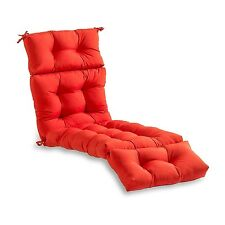 Lounge Chair Cushion Red Tufted Chaise Padding For Outdoor Patio Pool Recliner
