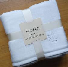 Ralph Lauren WHITE Micromink *KING BED BLANKET RL Emb Logo PLUSH mink fleece NEW
